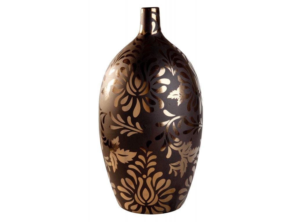 Váza Bronze Flower (16x32cm), hnědá