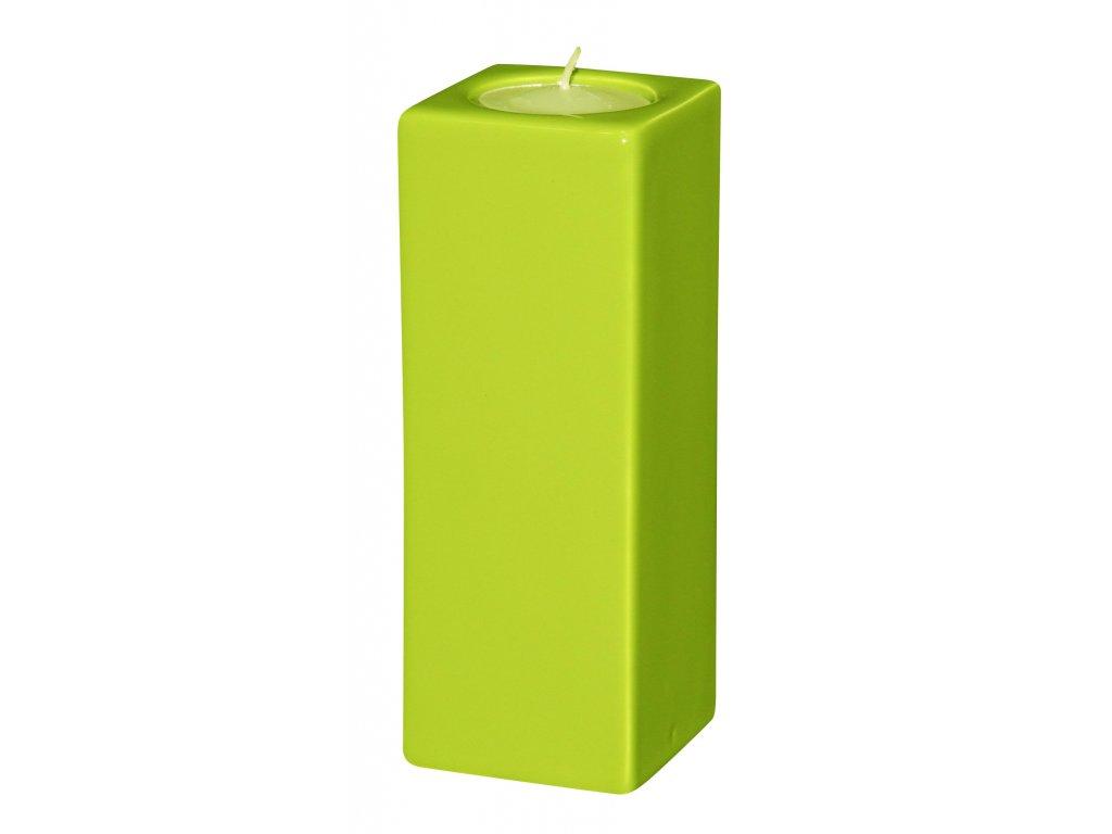 Svícen Quadro high (5,5x15cm), zelená