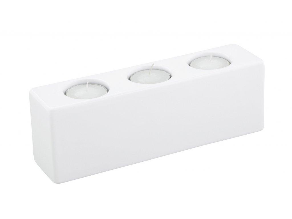 Svícen Quadro 3(22x6x8cm), bílá