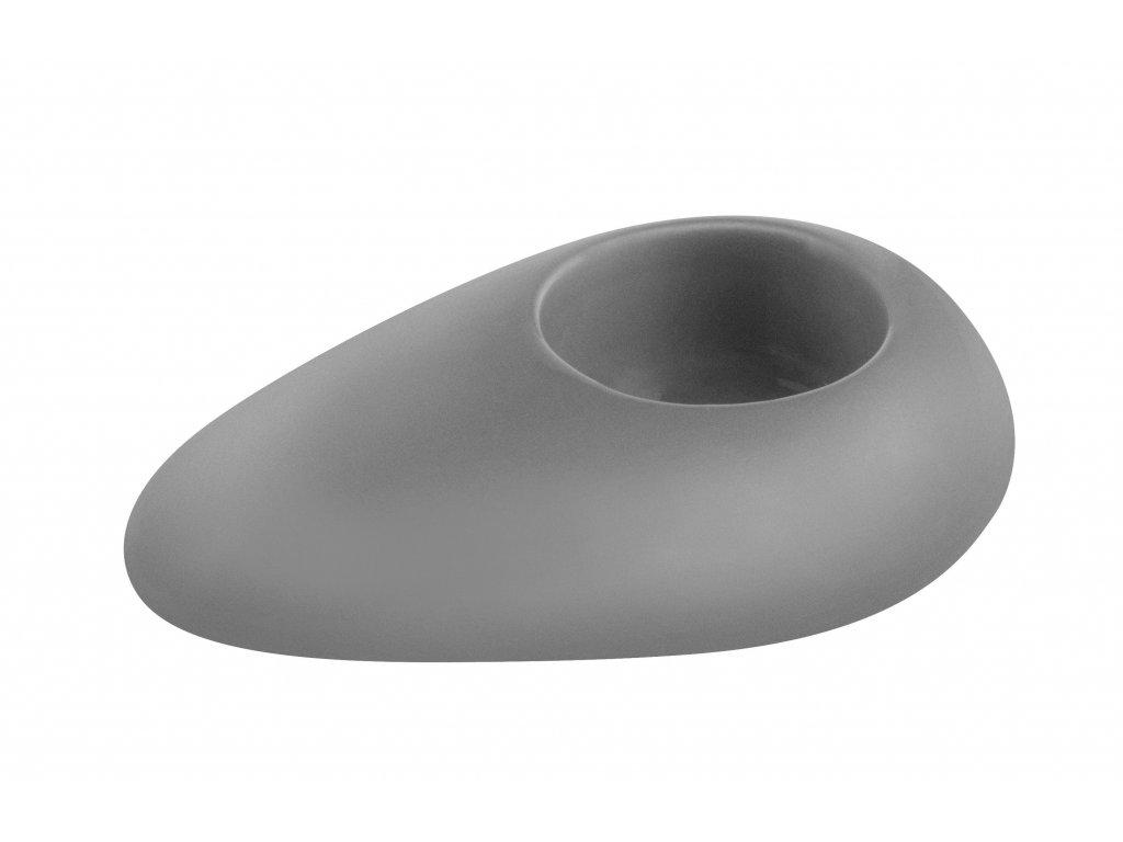 Svícen 'Stone' (12x8x3cm), šedá