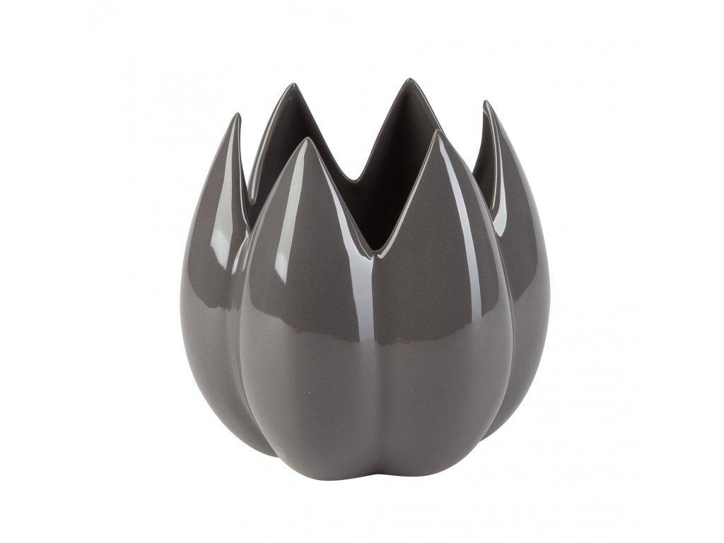 Dekorace 'Bud' - váza / květináč  (20x20x19 cm), šedá