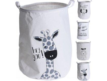 Koš na hračky Fine 50cm, bílá, (žirafa,lev,slon, krokodýl)