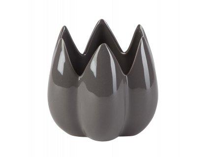 Dekorace 'Bud' - váza / květináč (13,8x13,8x12 cm), šedá