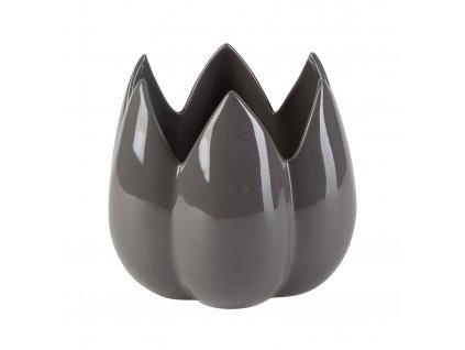 Dekorace 'Bud' - váza / květináč  (18x18x15,5 cm), šedá