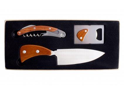 Třídílná dárková souprava s nožem, otvírákem na láhve a barmanskou vývrtkou, nerez matná
