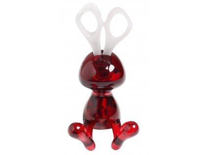 Stojan+nůžky - králík, červená