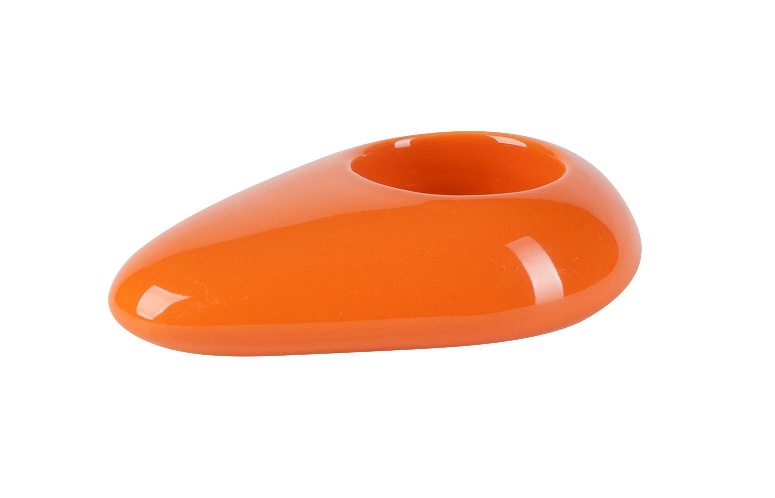 Svícen 'Stone' (12x8x3cm), oranžová