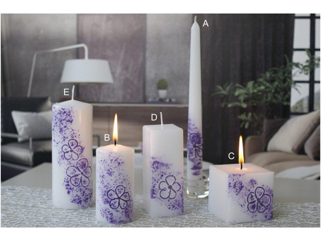 Svíčka Květinová Fialová