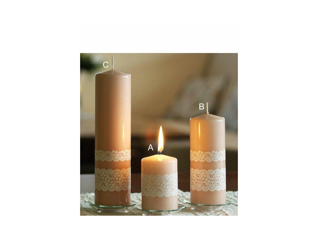 Svíčka Krajka terakota