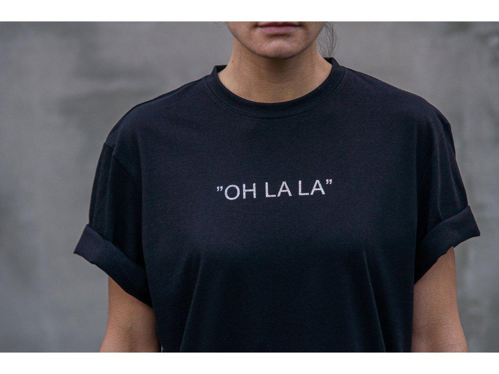 Černé tričko - Oh la la - Silver