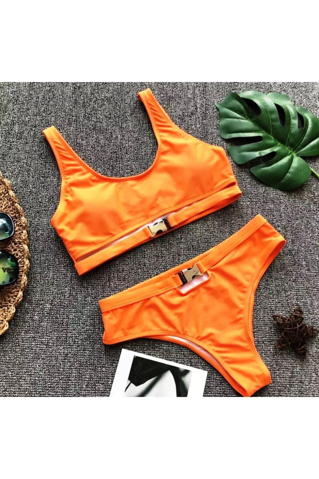 Oranžové dámske dvojdielne plavky (1)