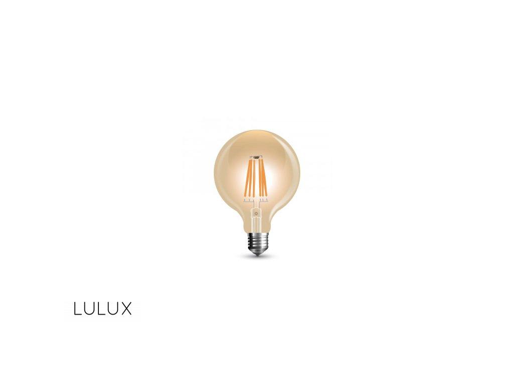 LED žiarovka E27 8W teplá biela filament amber stmievateľná G125