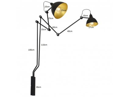 BIBI | čierna industriálna nástenná lampa