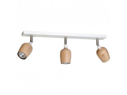 Moderné dizajnové drevené prisadené svietidlo. Kombinácia bielej a dreva