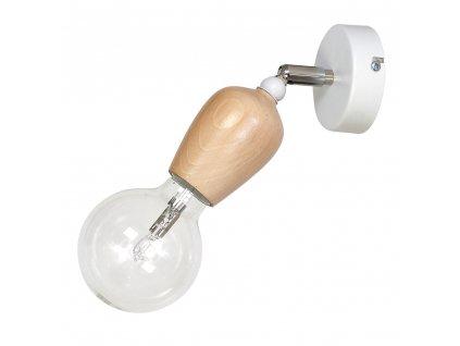 Moderné dizajnové drevené nástenné svietidlo. Kombinácia bielej a dreva