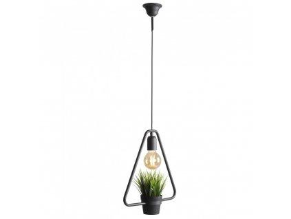 Čierne industriálné závesné dizajnové svietidlo s kvetinou