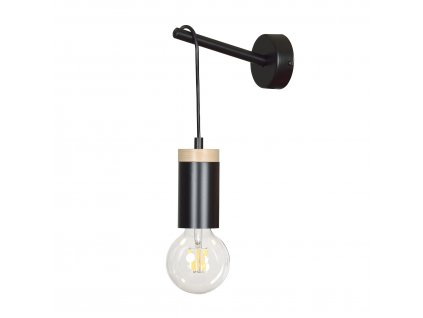 SKANDIA K1 BLACK | dizajnová čierna nástenná lampa s drevom