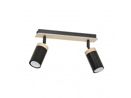 ELBA 2 moderné drevené stropné prisadené svietidlo čierne