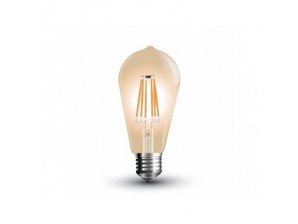 LED žiarovka E27 6W teplá biela filament amber ST64