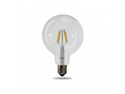 V TAC LED žiarovka E27 G125 6W teplá biela filament