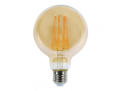 LED žiarovka E27 8W 2200K filament amber G125