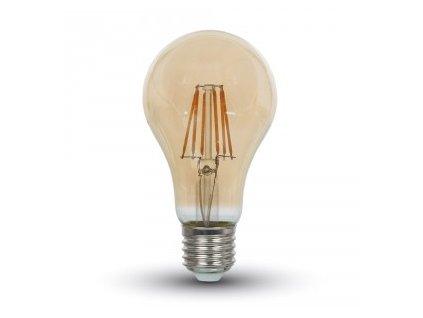 LED žiarovka E27 8W teplá biela filament amber A67
