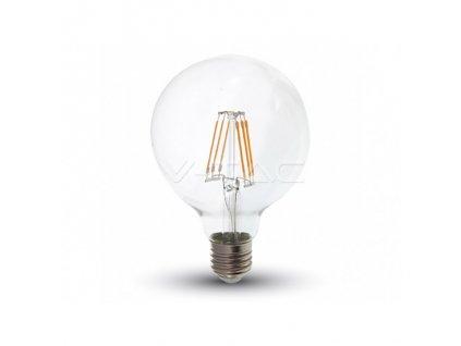 LED žiarovka E27 G95 6W teplá biela filament