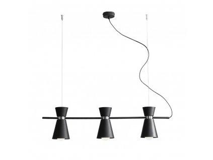 Aldex | 989E1 | KEDAR | dizajnová čierna visiaca lampa trojitá