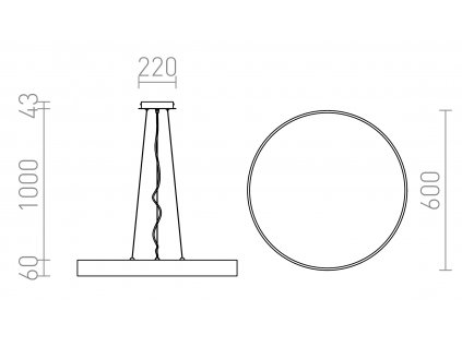 MENSA R 60   závesné okrúhle led svietidlo