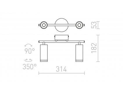 BOGARD II | nástenná/stropná valcová led lampa