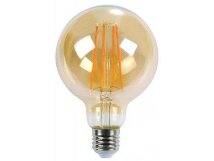 LED žiarovka E27 8W teplá biela filament amber G125 ORO