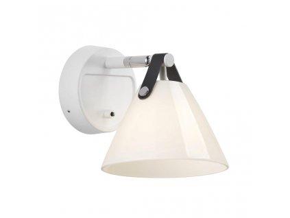 46241001 | Nordlux | STRAP | nástenné svietidlo z bieleho skla a kože