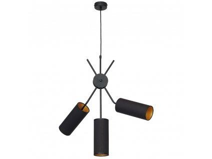 Závesné moderné svietidlo v kombinácii čierna a zlatá