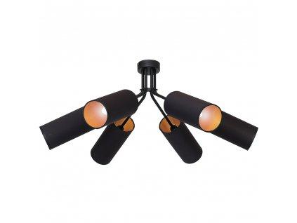 Prisadené stropné moderné svietidlo v kombinácii čierna a zlatá