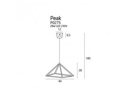 Geometrické luxusné dizajnové led medené závesné svietidlo