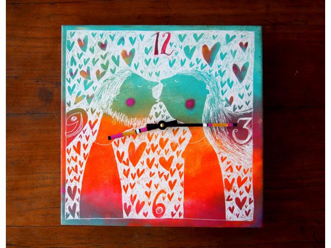 Keramické hodiny - Milenci