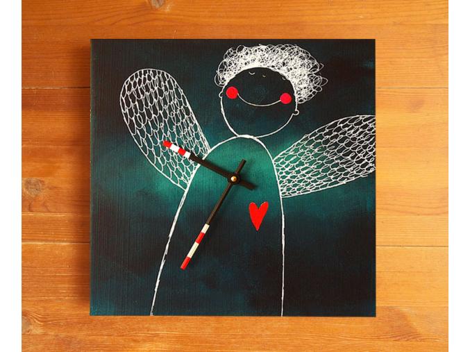 Keramické hodiny - Anděl