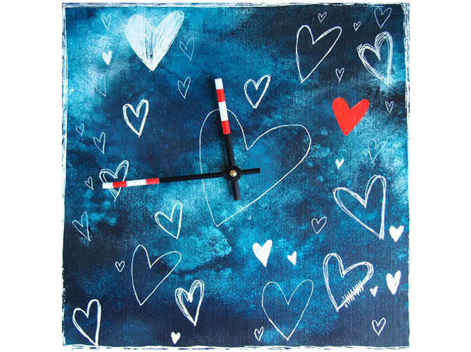 Keramické hodiny - Modré srdce
