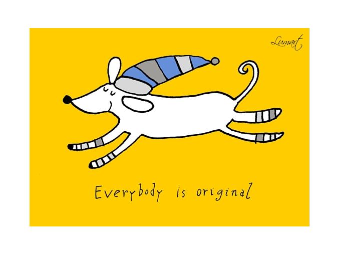 Pohled - Pes s čepicí