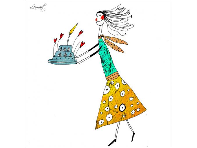 Přání - Dívka s dortem