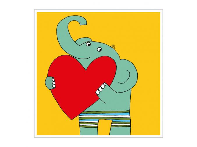 Přání - Slon se srdcem na dlani