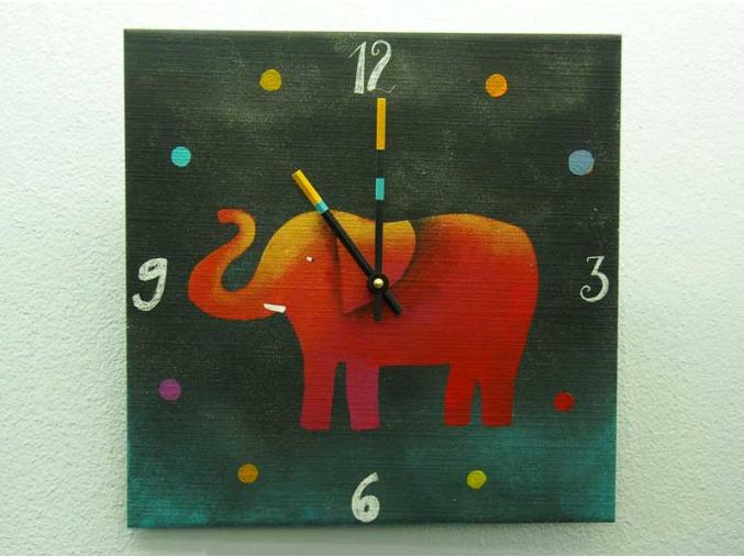 Keramické hodiny - Slon II
