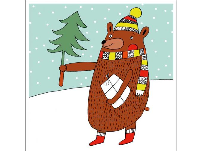 Přání - Medvěd s dárkem