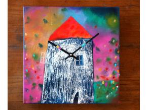 Keramické hodiny - Domek v květinách