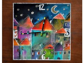 Keramické hodiny - Domky