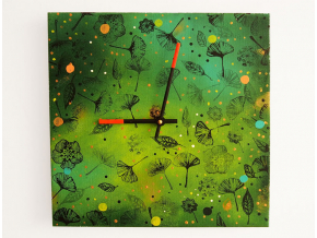 Keramické hodiny - Zelené lístky