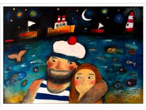 Pohled - Námořník se svou láskou