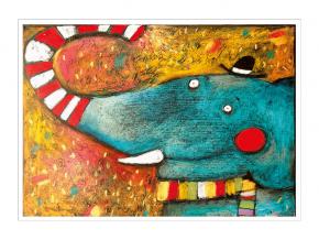 Pohled - Slon s buřinkou