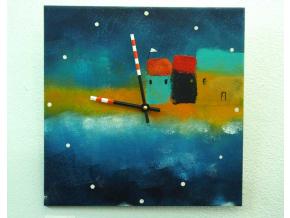 Keramické hodiny - Domky u moře
