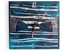 Keramické hodiny - Rybí II